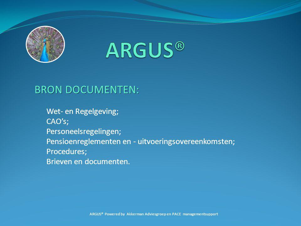 BRON DOCUMENTEN: Wet- en Regelgeving; CAO's; Personeelsregelingen; Pensioenreglementen en - uitvoeringsovereenkomsten; Procedures; Brieven en document