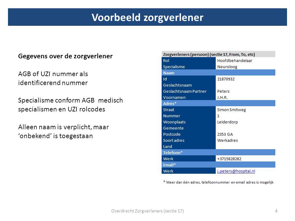 Voorbeeld zorgverlener Overdracht Zorgverleners (sectie 17)4 Gegevens over de zorgverlener AGB of UZI nummer als identificerend nummer Specialisme con