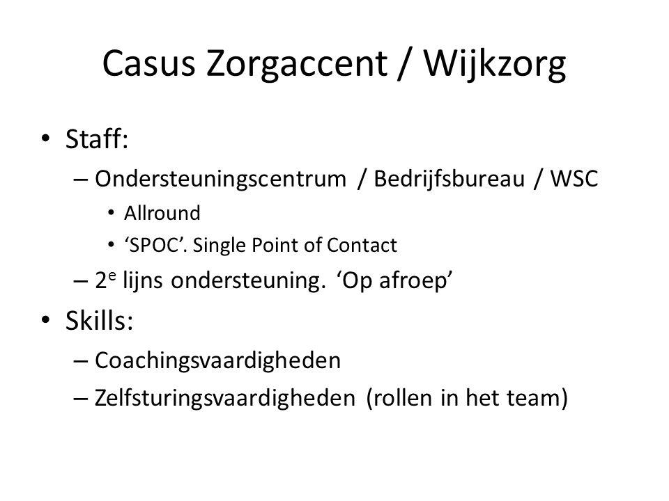 Casus Zorgaccent / Wijkzorg Staff: – Ondersteuningscentrum / Bedrijfsbureau / WSC Allround 'SPOC'.