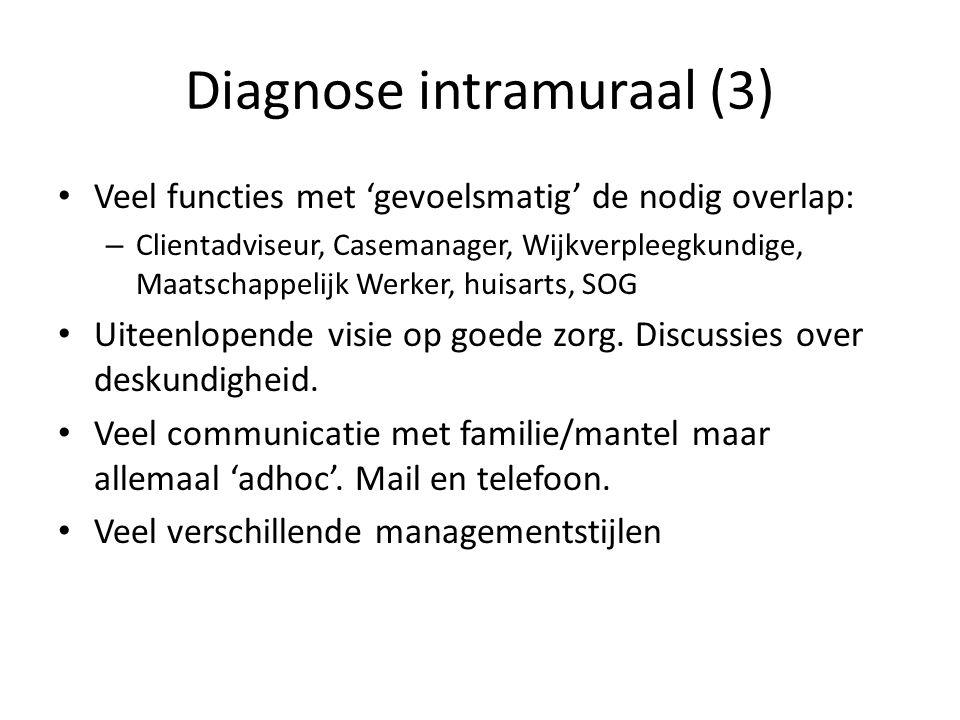 Diagnose intramuraal (3) Veel functies met 'gevoelsmatig' de nodig overlap: – Clientadviseur, Casemanager, Wijkverpleegkundige, Maatschappelijk Werker, huisarts, SOG Uiteenlopende visie op goede zorg.