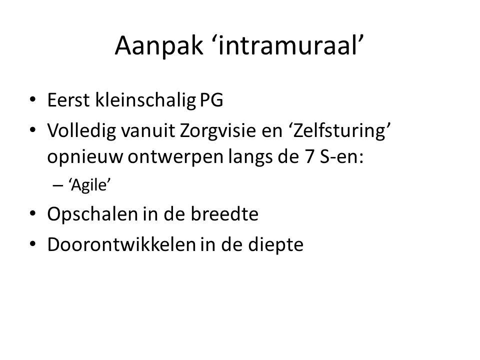 Aanpak 'intramuraal' Eerst kleinschalig PG Volledig vanuit Zorgvisie en 'Zelfsturing' opnieuw ontwerpen langs de 7 S-en: – 'Agile' Opschalen in de breedte Doorontwikkelen in de diepte