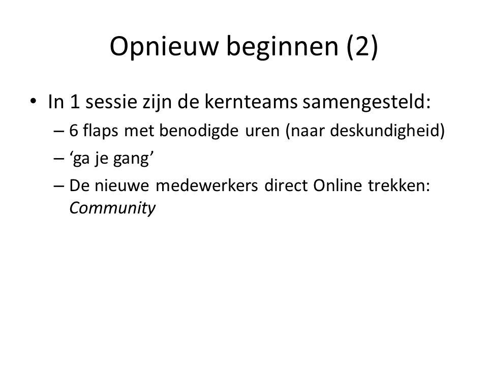 Opnieuw beginnen (2) In 1 sessie zijn de kernteams samengesteld: – 6 flaps met benodigde uren (naar deskundigheid) – 'ga je gang' – De nieuwe medewerkers direct Online trekken: Community