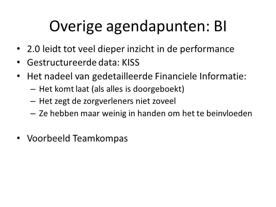 Overige agendapunten: BI 2.0 leidt tot veel dieper inzicht in de performance Gestructureerde data: KISS Het nadeel van gedetailleerde Financiele Informatie: – Het komt laat (als alles is doorgeboekt) – Het zegt de zorgverleners niet zoveel – Ze hebben maar weinig in handen om het te beinvloeden Voorbeeld Teamkompas