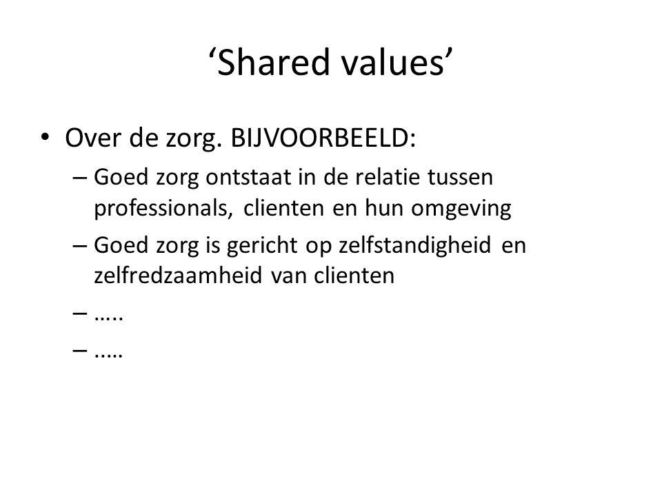 'Shared values' Over de zorg.