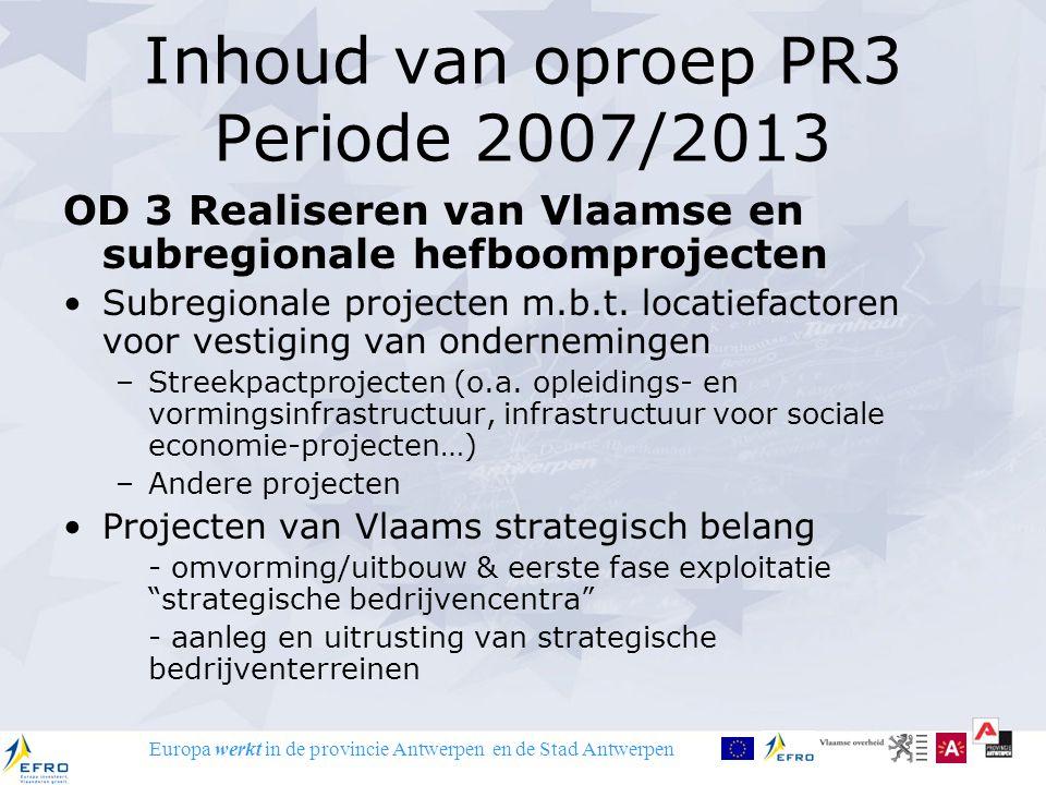 Europa werkt in de provincie Antwerpen en de Stad Antwerpen Inhoud van oproep PR3 Periode 2007/2013 OD 3 Realiseren van Vlaamse en subregionale hefboo