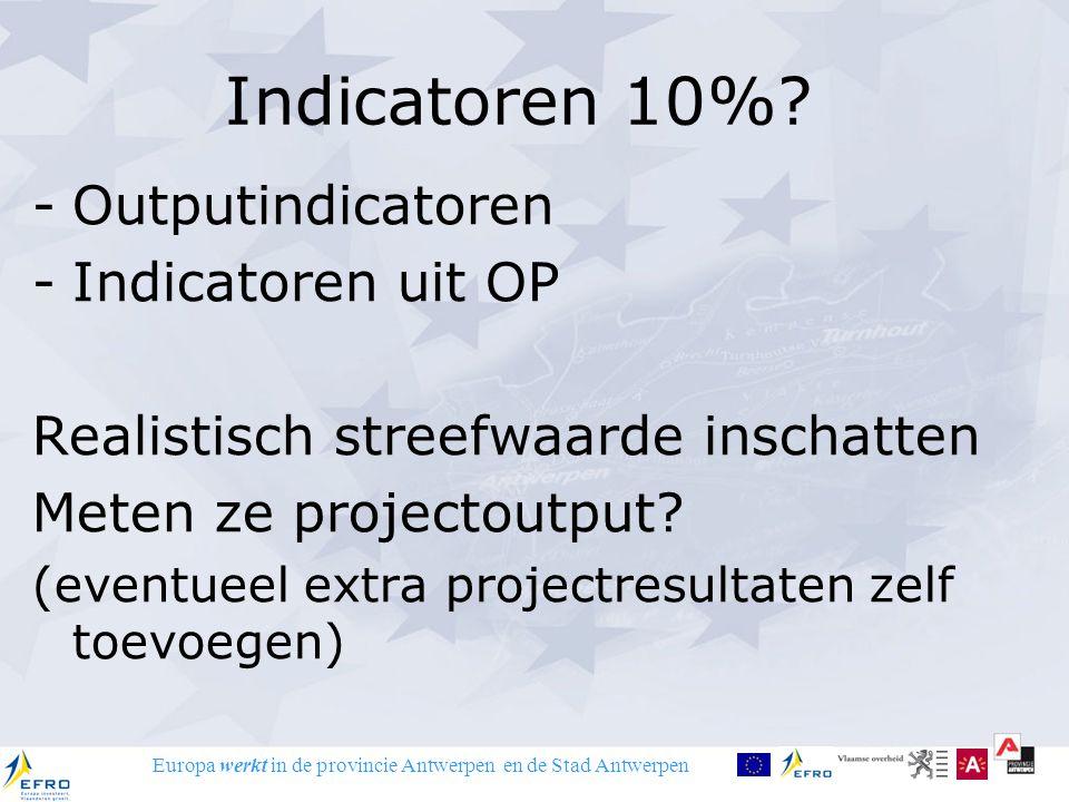 Europa werkt in de provincie Antwerpen en de Stad Antwerpen Indicatoren 10%? -Outputindicatoren -Indicatoren uit OP Realistisch streefwaarde inschatte