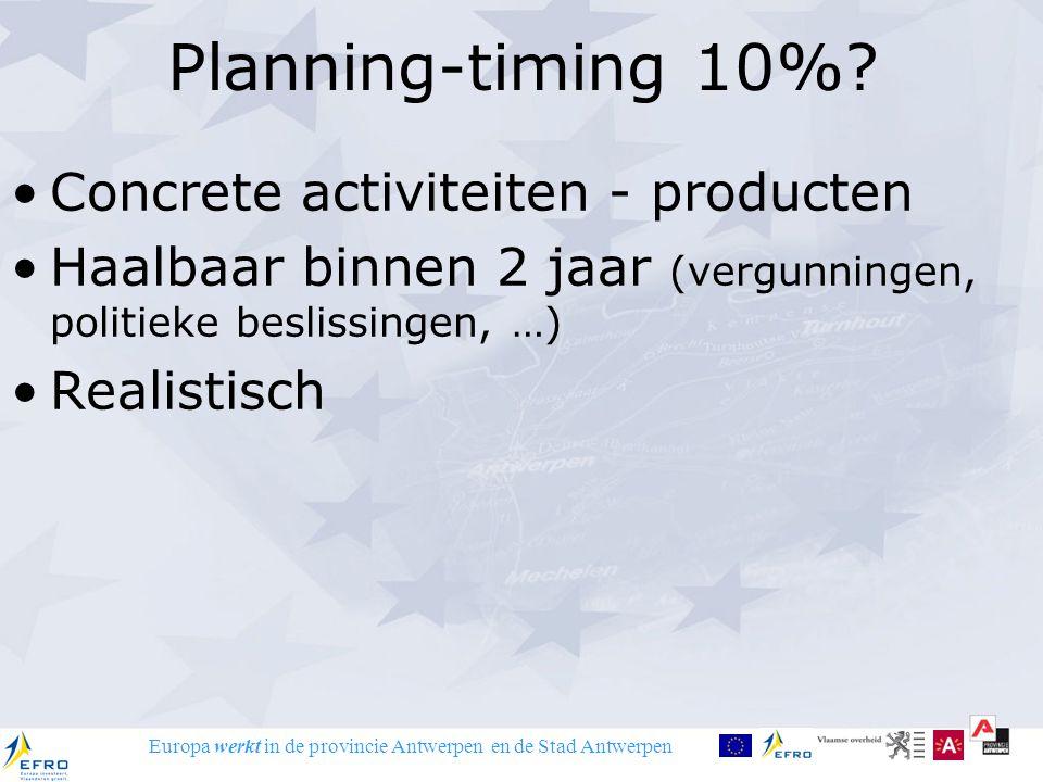 Europa werkt in de provincie Antwerpen en de Stad Antwerpen Planning-timing 10%? Concrete activiteiten - producten Haalbaar binnen 2 jaar (vergunninge