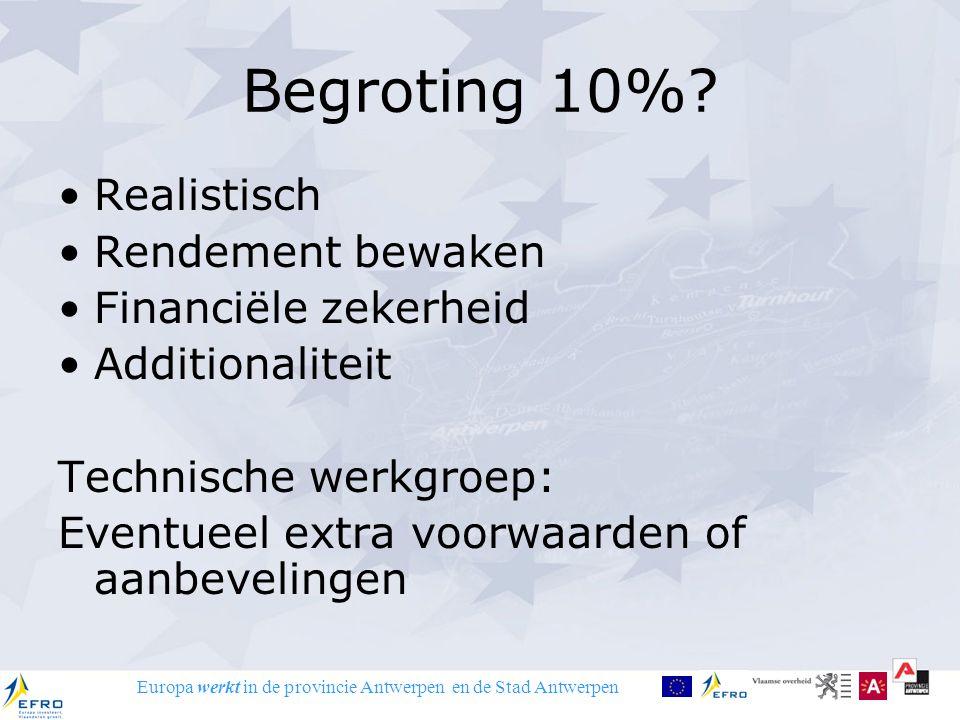 Europa werkt in de provincie Antwerpen en de Stad Antwerpen Begroting 10%? Realistisch Rendement bewaken Financiële zekerheid Additionaliteit Technisc