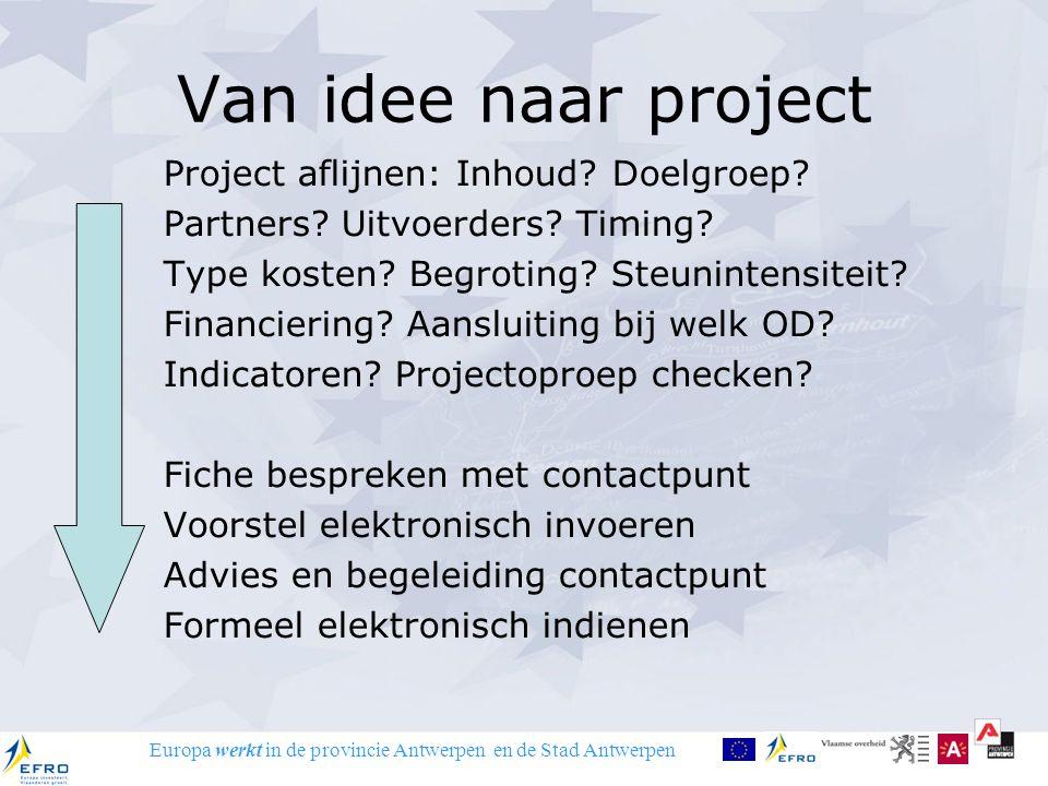 Europa werkt in de provincie Antwerpen en de Stad Antwerpen Van idee naar project Project aflijnen: Inhoud? Doelgroep? Partners? Uitvoerders? Timing?
