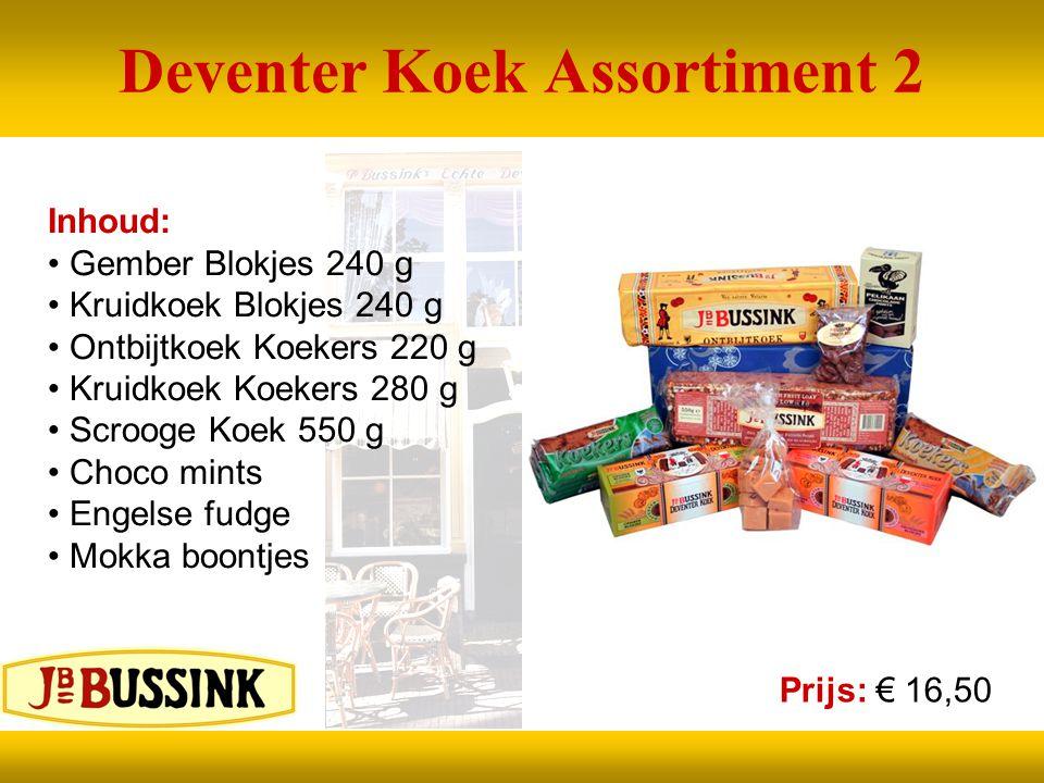 Deventer Koek Assortiment 2 Inhoud: Gember Blokjes 240 g Kruidkoek Blokjes 240 g Ontbijtkoek Koekers 220 g Kruidkoek Koekers 280 g Scrooge Koek 550 g