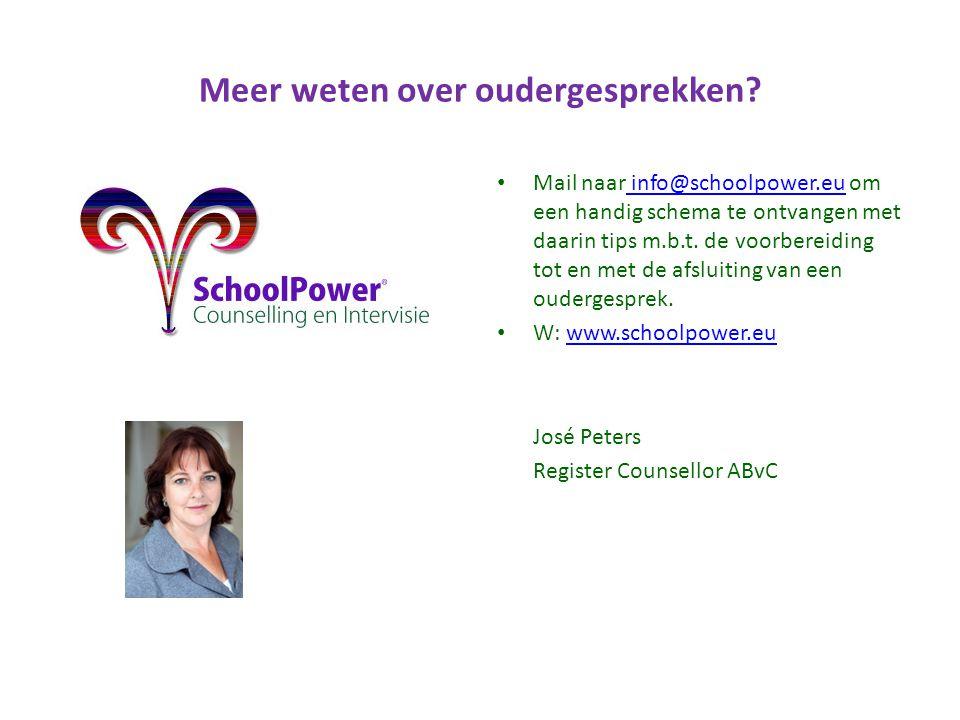 Meer weten over oudergesprekken? Mail naar info@schoolpower.eu om een handig schema te ontvangen met daarin tips m.b.t. de voorbereiding tot en met de