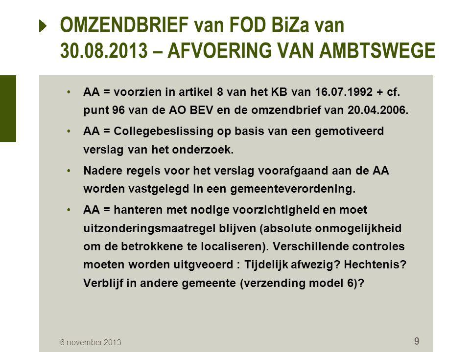 AA = voorzien in artikel 8 van het KB van 16.07.1992 + cf. punt 96 van de AO BEV en de omzendbrief van 20.04.2006. AA = Collegebeslissing op basis van