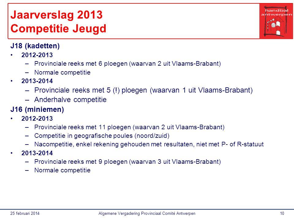 25 februari 2014Algemene Vergadering Provinciaal Comité Antwerpen10 Jaarverslag 2013 Competitie Jeugd J18 (kadetten) 2012-2013 –Provinciale reeks met 6 ploegen (waarvan 2 uit Vlaams-Brabant) –Normale competitie 2013-2014 –Provinciale reeks met 5 (!) ploegen (waarvan 1 uit Vlaams-Brabant) –Anderhalve competitie J16 (miniemen) 2012-2013 –Provinciale reeks met 11 ploegen (waarvan 2 uit Vlaams-Brabant) –Competitie in geografische poules (noord/zuid) –Nacompetitie, enkel rekening gehouden met resultaten, niet met P- of R-statuut 2013-2014 –Provinciale reeks met 9 ploegen (waarvan 3 uit Vlaams-Brabant) –Normale competitie