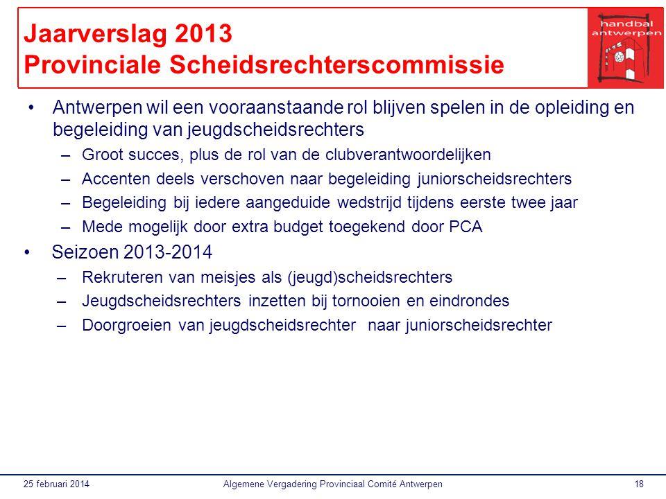 25 februari 2014Algemene Vergadering Provinciaal Comité Antwerpen19 Financieel Verslag 2013 Resultatenrekening 2013 INKOMSTENUITGAVEN 1.