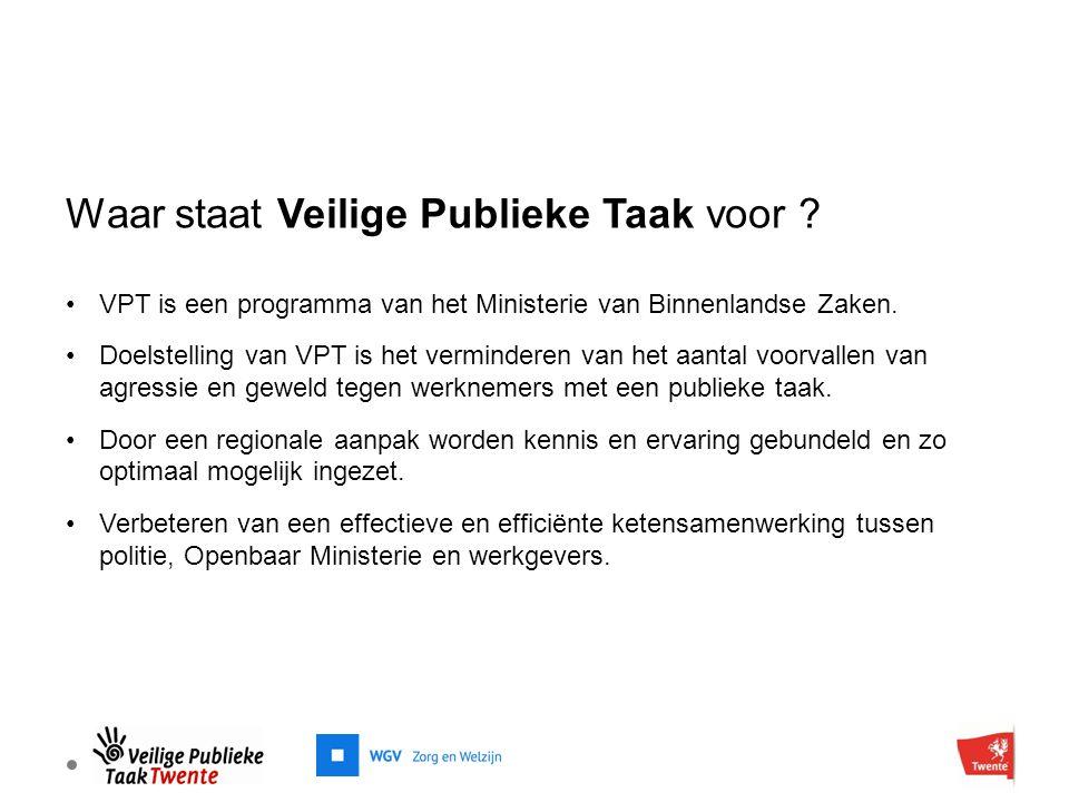 Waar staat Veilige Publieke Taak voor ? VPT is een programma van het Ministerie van Binnenlandse Zaken. Doelstelling van VPT is het verminderen van he