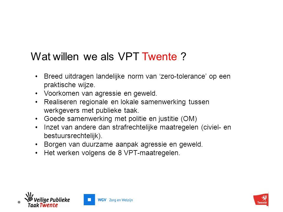 Wat willen we als VPT Twente ? Breed uitdragen landelijke norm van 'zero-tolerance' op een praktische wijze. Voorkomen van agressie en geweld. Realise