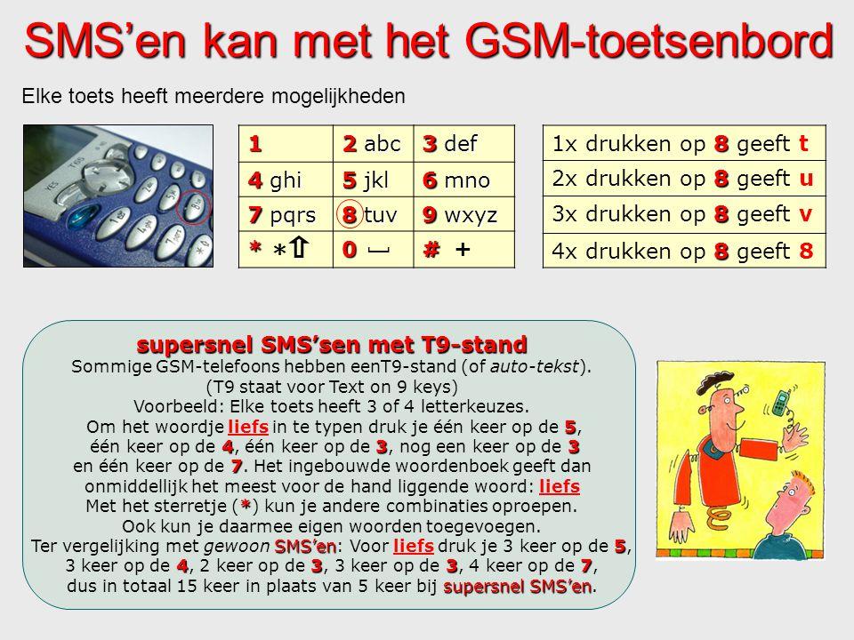 SMS'en kan met het GSM-toetsenbord 1 2 abc 3 def 4 ghi 5 jkl 6 mno 7 pqrs 8 tuv 9 wxyz *0# Elke toets heeft meerdere mogelijkheden [ +..