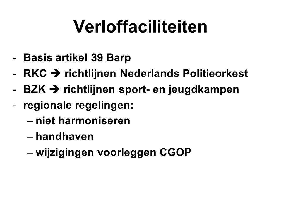 Verloffaciliteiten -Basis artikel 39 Barp -RKC  richtlijnen Nederlands Politieorkest -BZK  richtlijnen sport- en jeugdkampen -regionale regelingen: –niet harmoniseren –handhaven –wijzigingen voorleggen CGOP