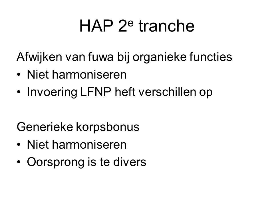 HAP 2 e tranche Afwijken van fuwa bij organieke functies Niet harmoniseren Invoering LFNP heft verschillen op Generieke korpsbonus Niet harmoniseren Oorsprong is te divers