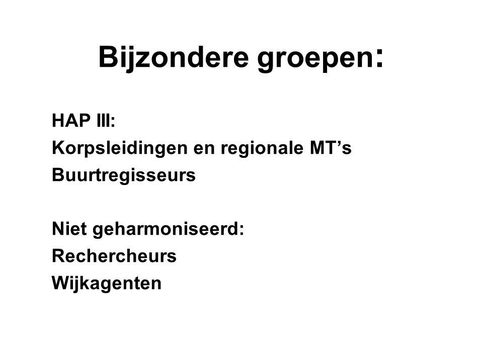 Bijzondere groepen : HAP III: Korpsleidingen en regionale MT's Buurtregisseurs Niet geharmoniseerd: Rechercheurs Wijkagenten