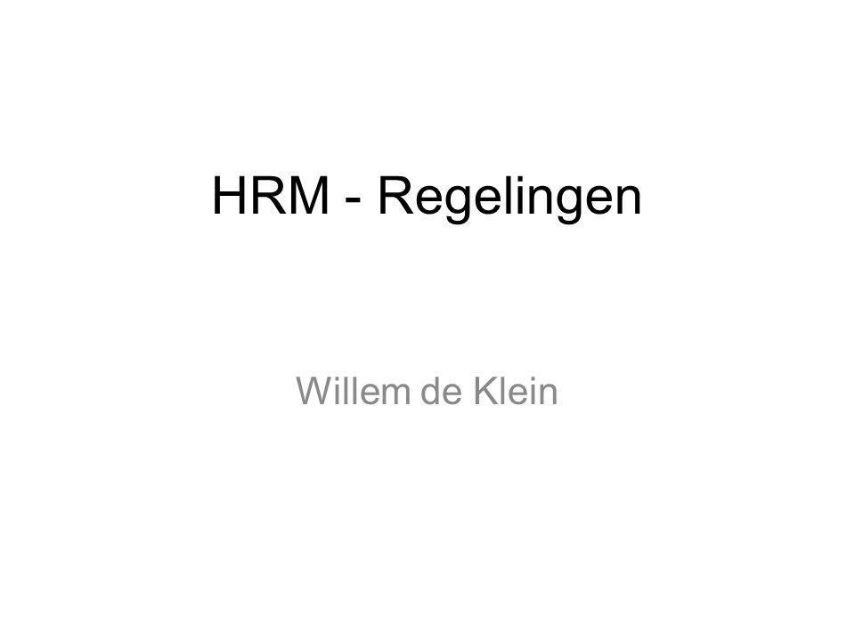 HRM - Regelingen Willem de Klein