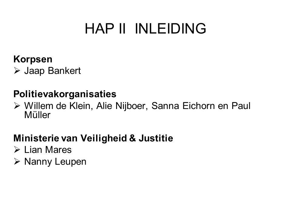 HAP II INLEIDING Korpsen  Jaap Bankert Politievakorganisaties  Willem de Klein, Alie Nijboer, Sanna Eichorn en Paul Müller Ministerie van Veiligheid & Justitie  Lian Mares  Nanny Leupen