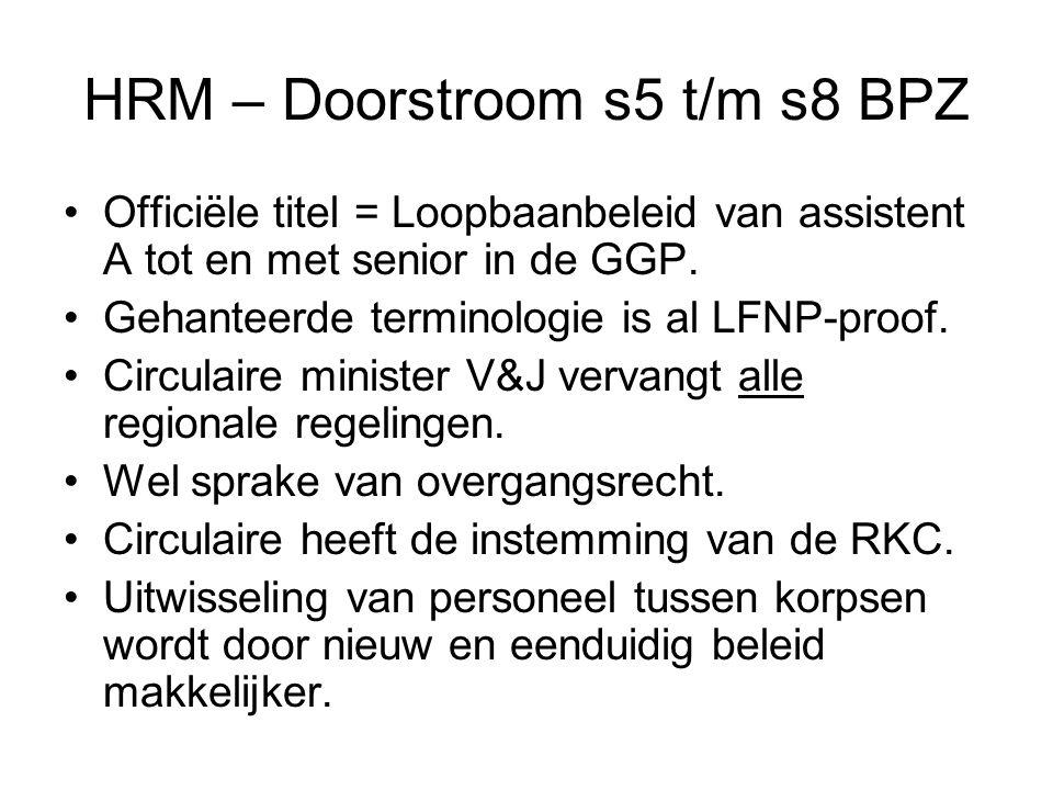 HRM – Doorstroom s5 t/m s8 BPZ Officiële titel = Loopbaanbeleid van assistent A tot en met senior in de GGP.