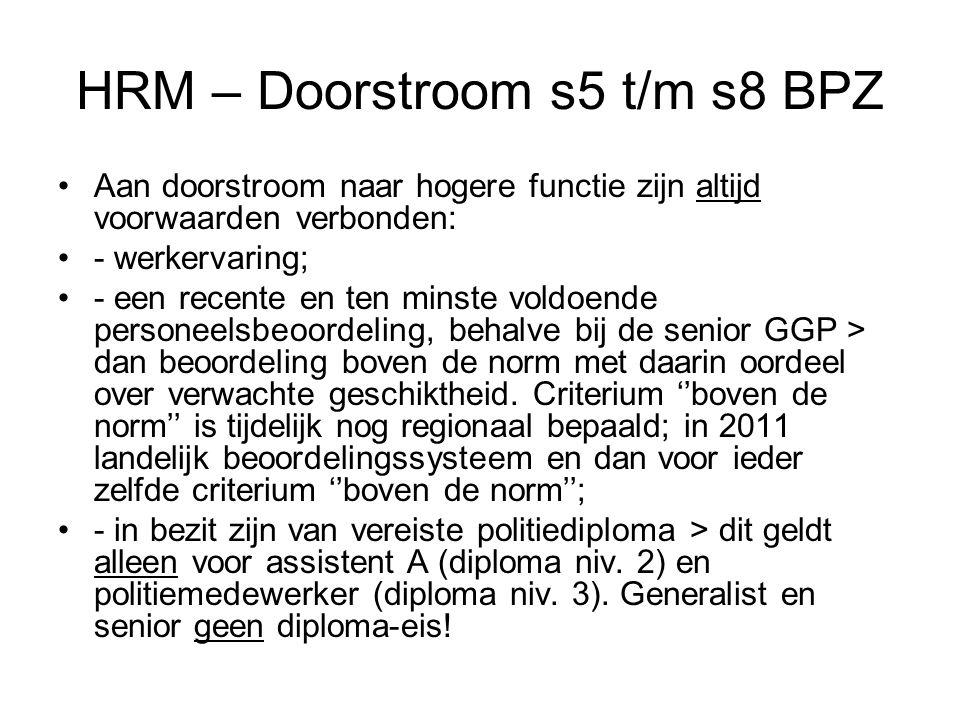 HRM – Doorstroom s5 t/m s8 BPZ Aan doorstroom naar hogere functie zijn altijd voorwaarden verbonden: - werkervaring; - een recente en ten minste voldoende personeelsbeoordeling, behalve bij de senior GGP > dan beoordeling boven de norm met daarin oordeel over verwachte geschiktheid.
