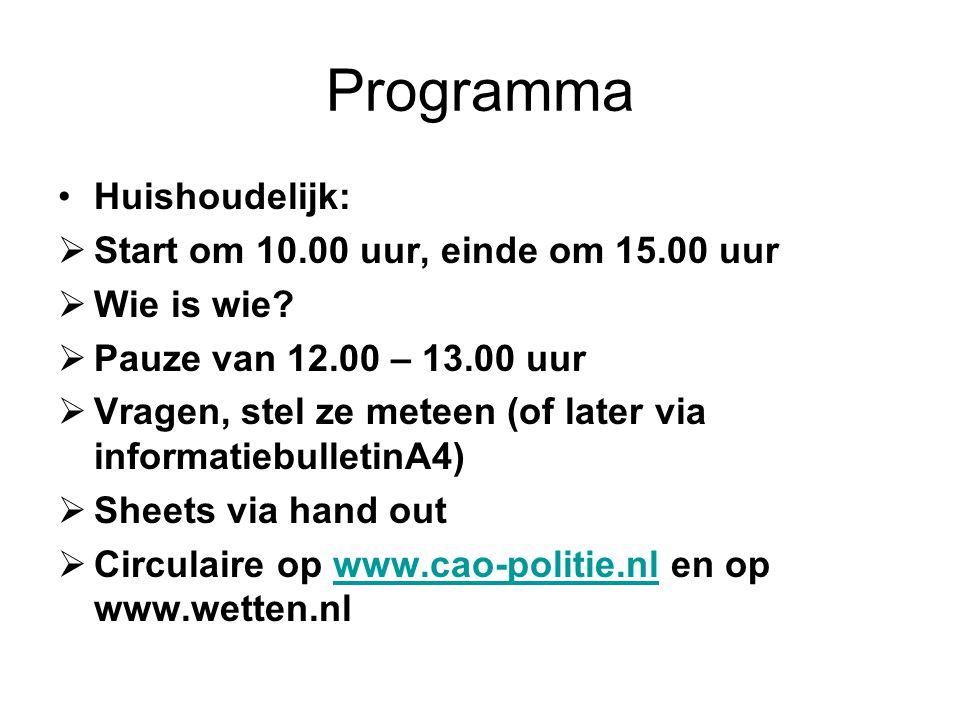 Programma Onderwerpen in tijdsperspectief: 10.30-11.00Huishoudelijke regelingen (Lian Mares) 11.00-11.30Bereikbaarheid en Beschikbaarheid (Paul Müller) 11.30-12.00Beloningen (Alie Nijboer) 12.00-13.00 Lunch 13.00-13.30 Bijzondere groepen (Sanna Eichhorn) 13.30-14.15HRM regelingen én afwikkeling eerste tranche (Willem de Klein) 14.15-14.30HAP III (Lian Mares) 14.30- 15.00Rondvraag en sluiting