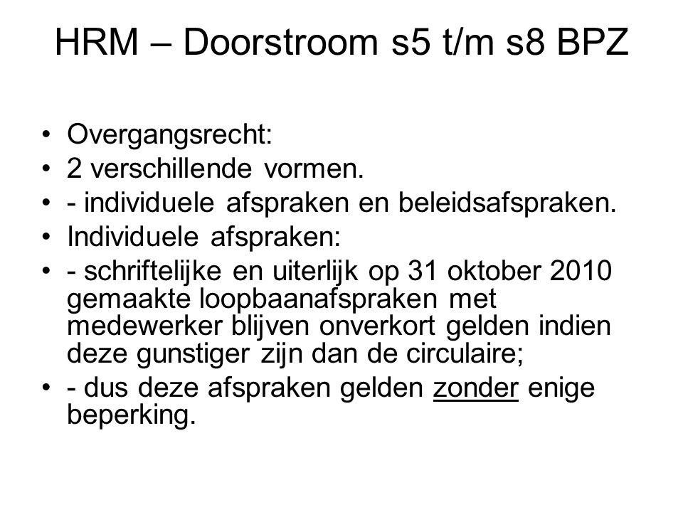 HRM – Doorstroom s5 t/m s8 BPZ Overgangsrecht: 2 verschillende vormen.