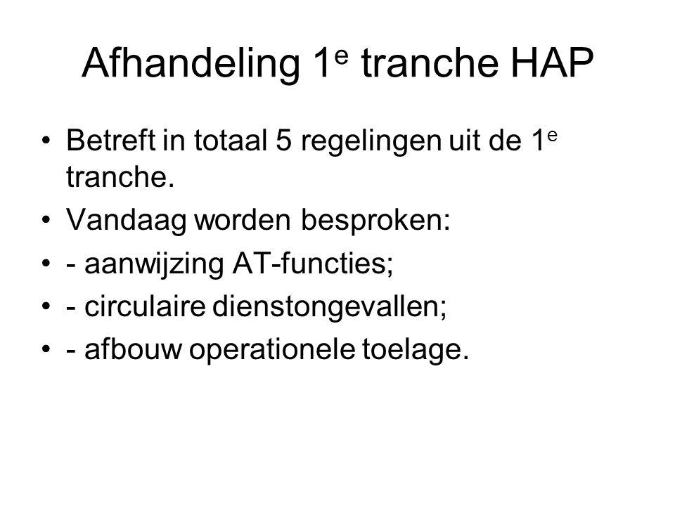 Afhandeling 1 e tranche HAP Betreft in totaal 5 regelingen uit de 1 e tranche.