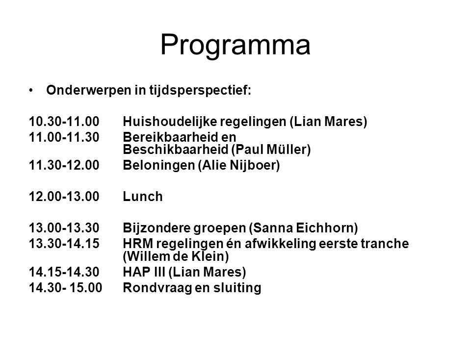 HAP 2 e tranche Representatiekostentoelage Onderwerp gaat naar HAP 3 e tranche Sterk verweven met ander onderwerp uit HAP 3, nl.