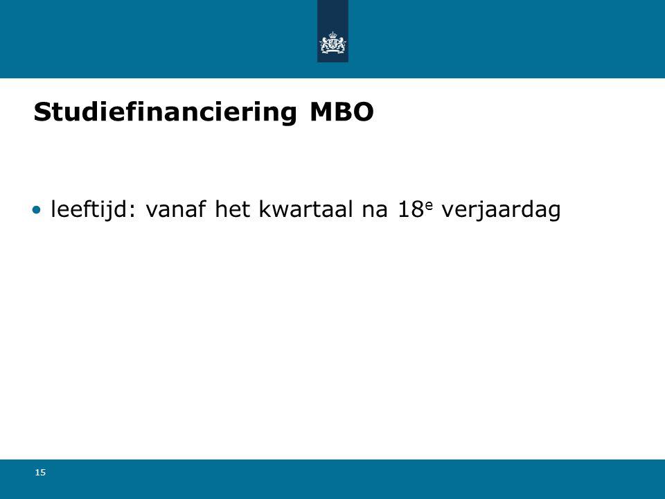 15 Studiefinanciering MBO leeftijd: vanaf het kwartaal na 18 e verjaardag