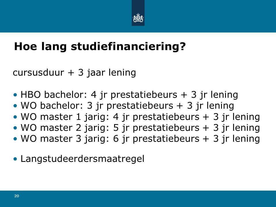 20 Hoe lang studiefinanciering? cursusduur + 3 jaar lening HBO bachelor: 4 jr prestatiebeurs + 3 jr lening WO bachelor: 3 jr prestatiebeurs + 3 jr len