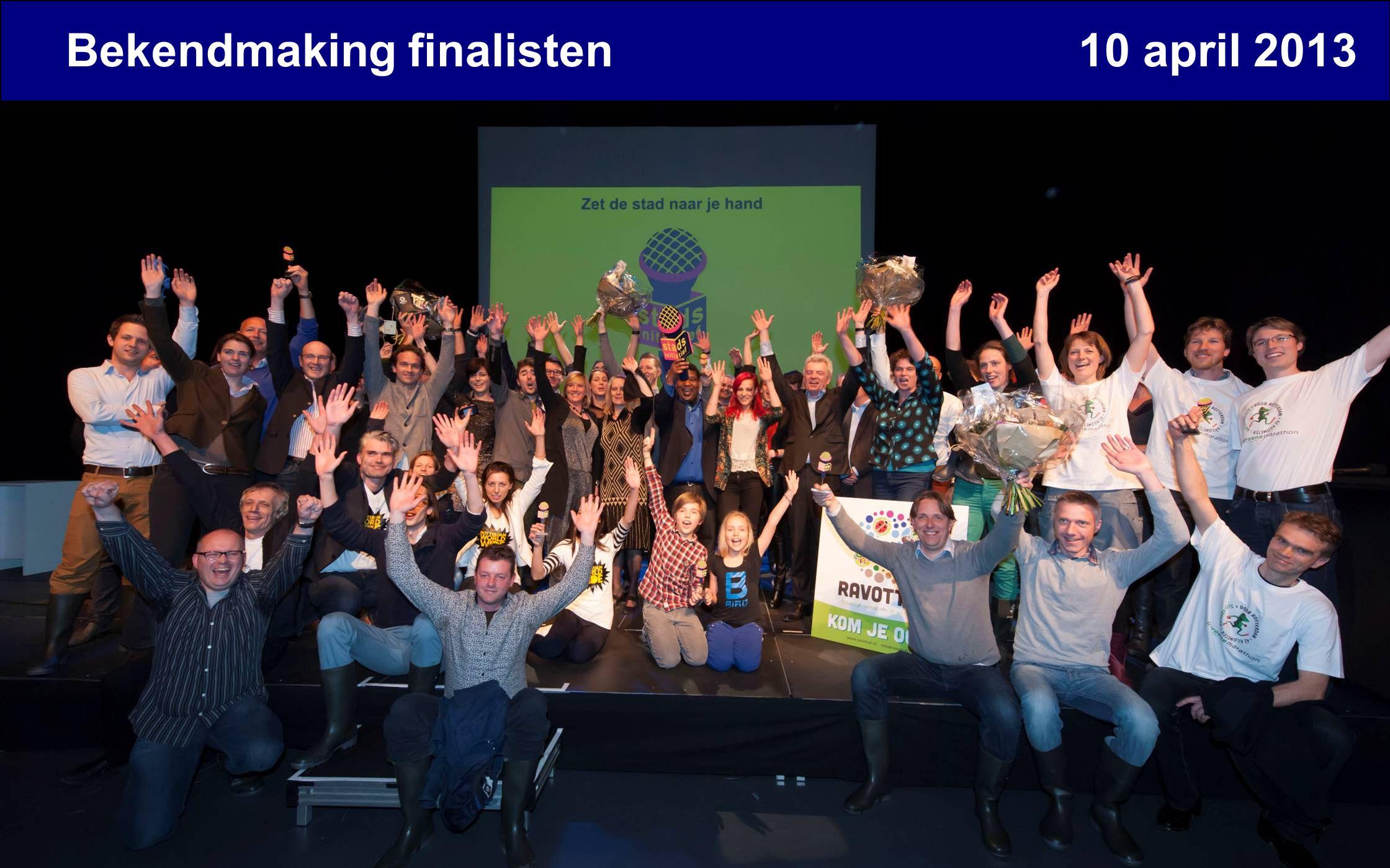 Bekendmaking finalisten 10 april 2013