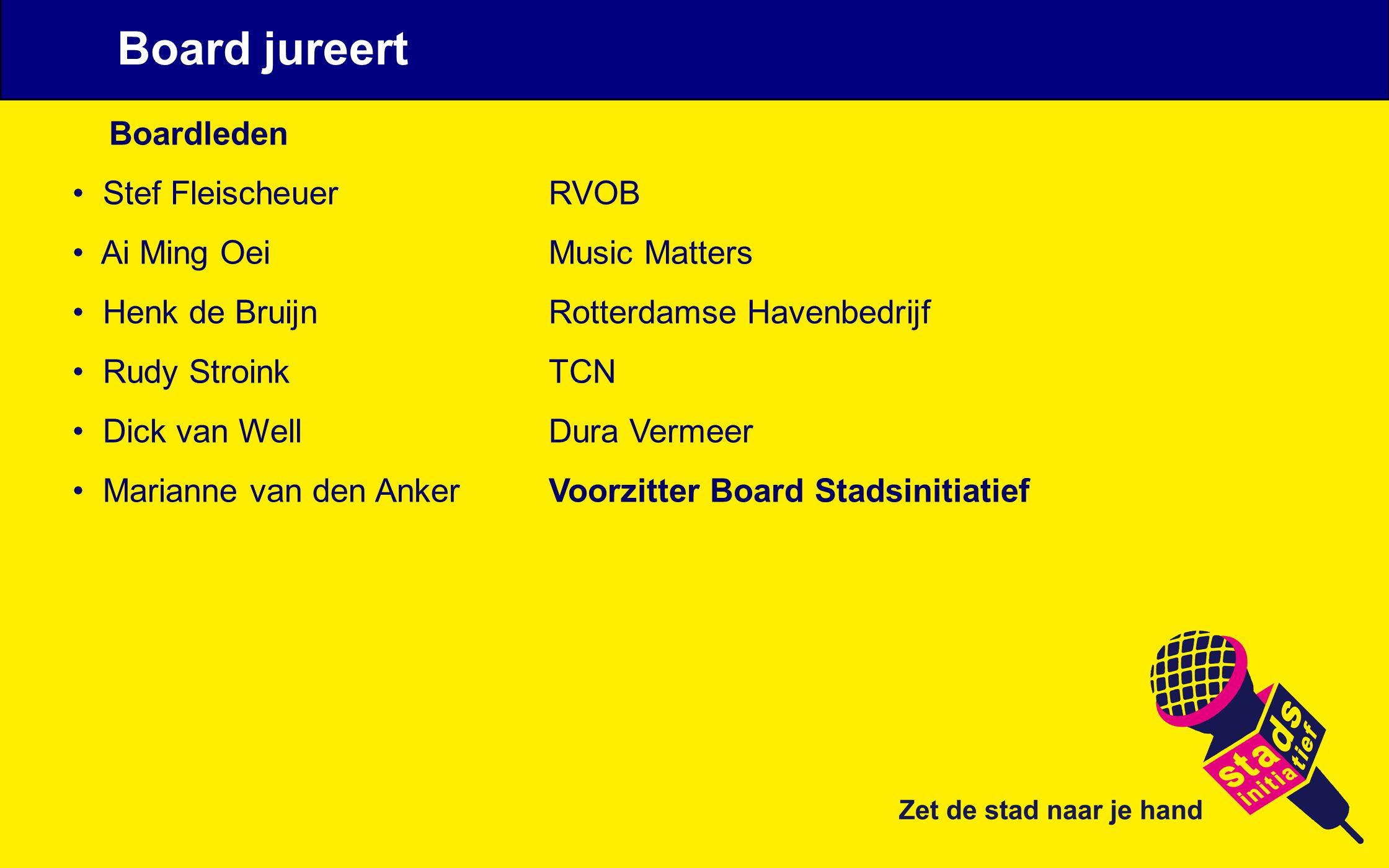 Boardleden Stef Fleischeuer RVOB Ai Ming Oei Music Matters Henk de Bruijn Rotterdamse Havenbedrijf Rudy Stroink TCN Dick van Well Dura Vermeer Mariann