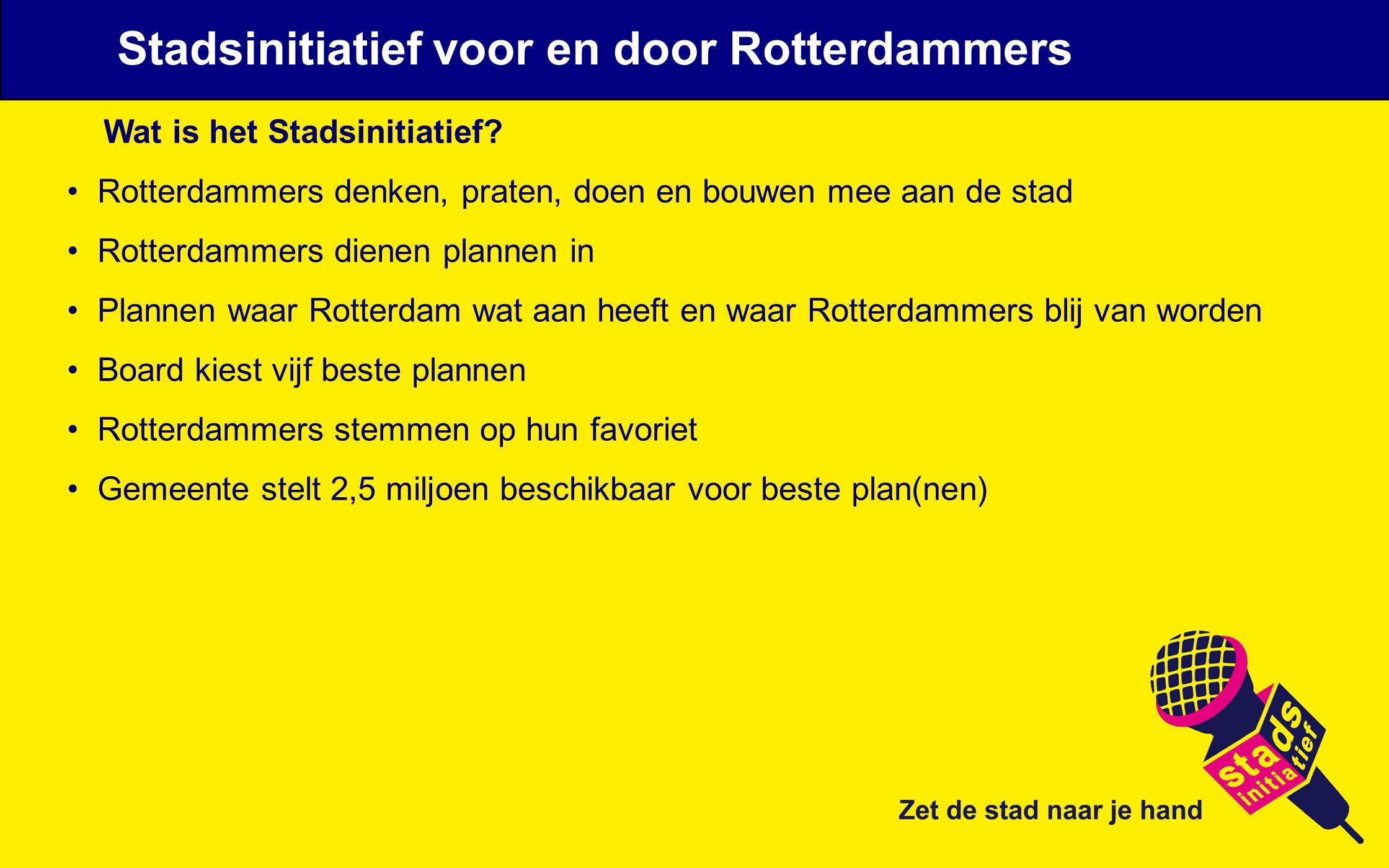 Wat is het Stadsinitiatief? Rotterdammers denken, praten, doen en bouwen mee aan de stad Rotterdammers dienen plannen in Plannen waar Rotterdam wat aa