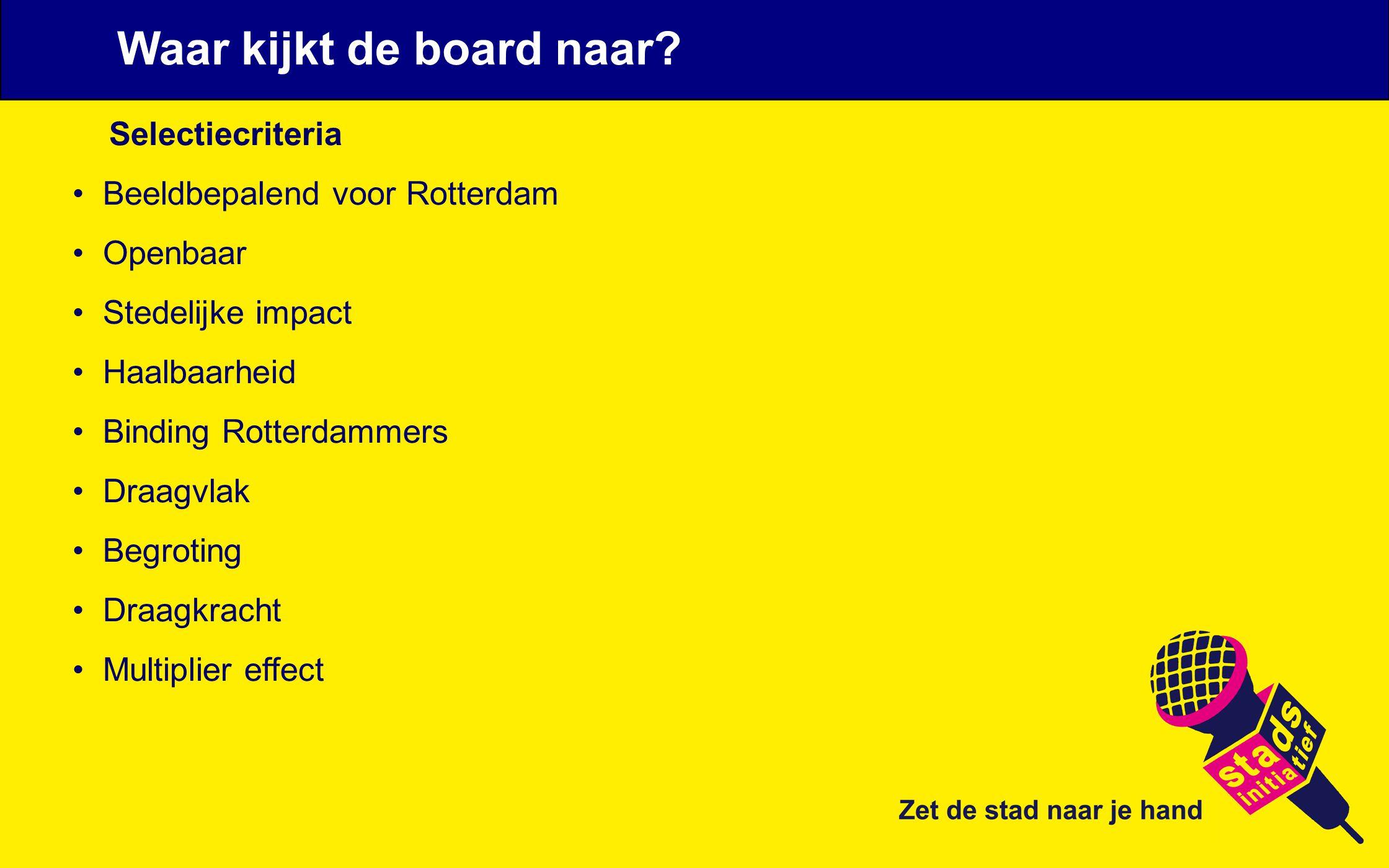 Selectiecriteria Beeldbepalend voor Rotterdam Openbaar Stedelijke impact Haalbaarheid Binding Rotterdammers Draagvlak Begroting Draagkracht Multiplier