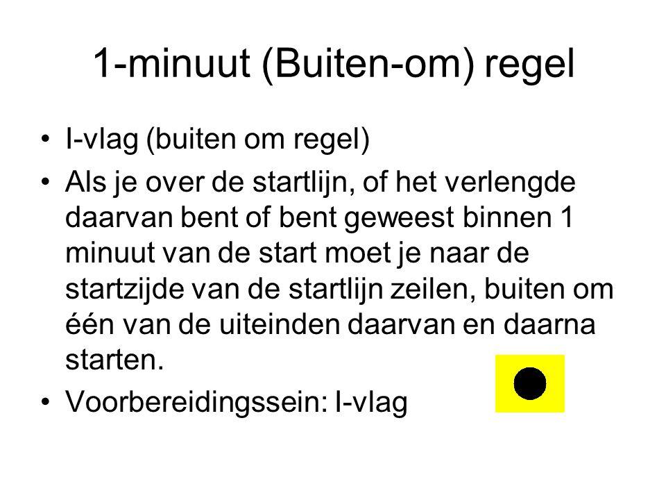 1-minuut (Buiten-om) regel I-vlag (buiten om regel) Als je over de startlijn, of het verlengde daarvan bent of bent geweest binnen 1 minuut van de start moet je naar de startzijde van de startlijn zeilen, buiten om één van de uiteinden daarvan en daarna starten.