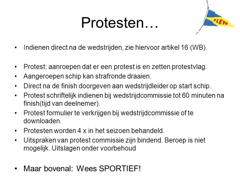 Protesten… Indienen direct na de wedstrijden, zie hiervoor artikel 16 (WB). Protest: aanroepen dat er een protest is en zetten protestvlag. Aangeroepe