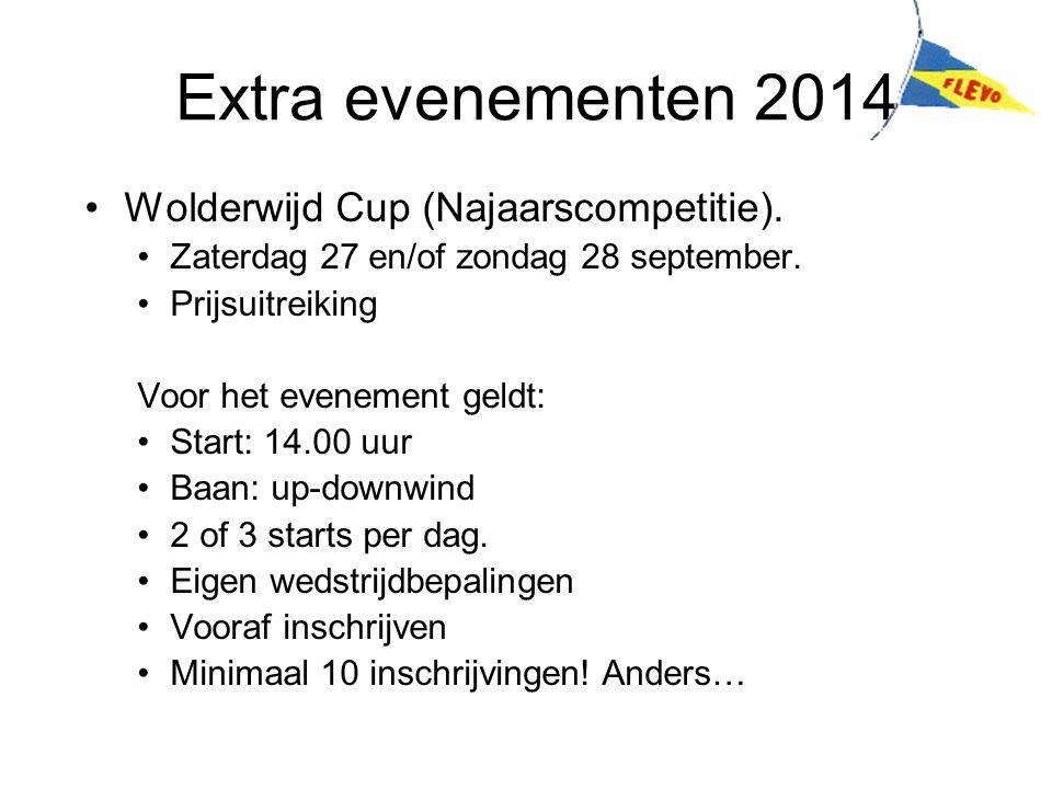 Extra evenementen 2014 Wolderwijd Cup (Najaarscompetitie). Zaterdag 27 en/of zondag 28 september. Prijsuitreiking Voor het evenement geldt: Start: 14.