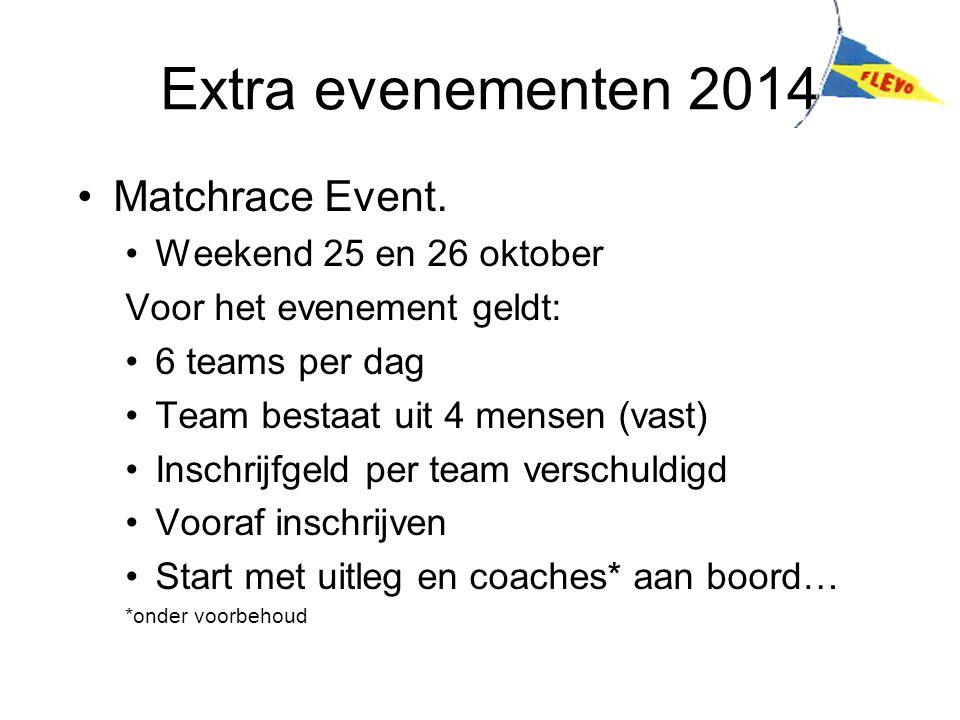 Extra evenementen 2014 Matchrace Event. Weekend 25 en 26 oktober Voor het evenement geldt: 6 teams per dag Team bestaat uit 4 mensen (vast) Inschrijfg