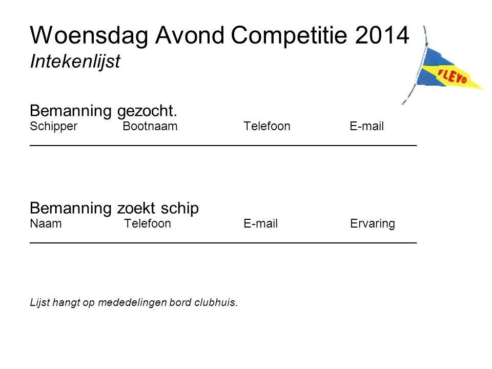 Woensdag Avond Competitie 2014 Intekenlijst Bemanning gezocht. Schipper Bootnaam Telefoon E-mail _____________________________________________________