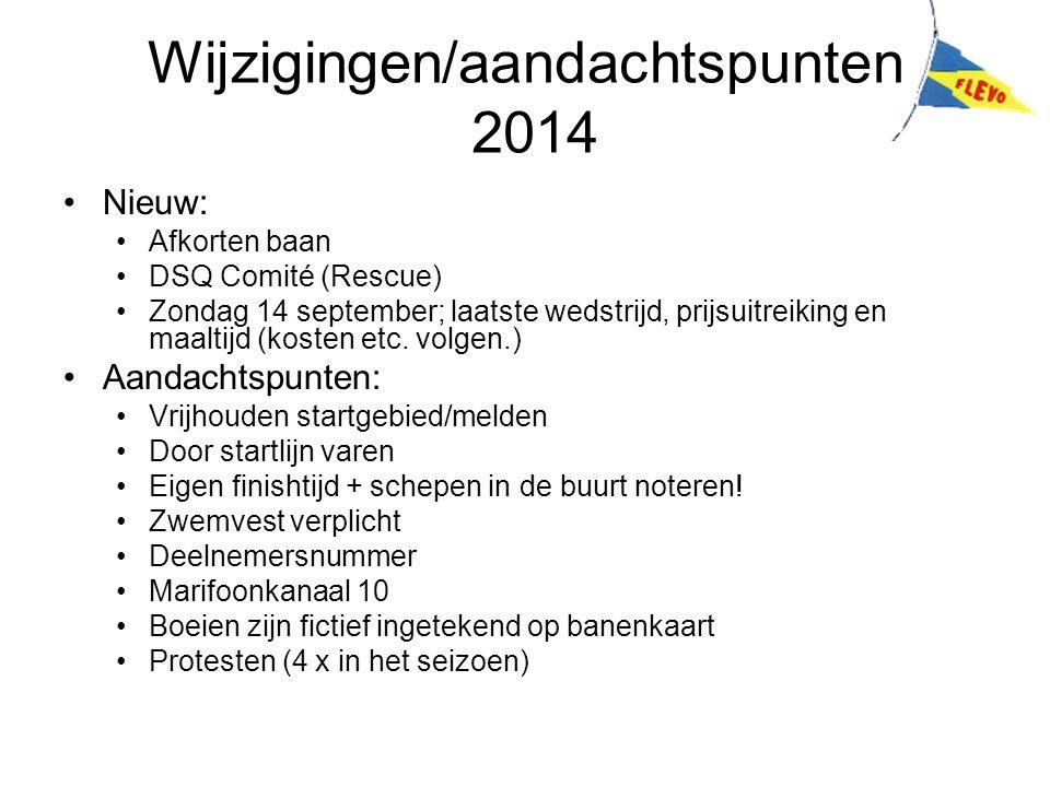 Wijzigingen/aandachtspunten 2014 Nieuw: Afkorten baan DSQ Comité (Rescue) Zondag 14 september; laatste wedstrijd, prijsuitreiking en maaltijd (kosten etc.