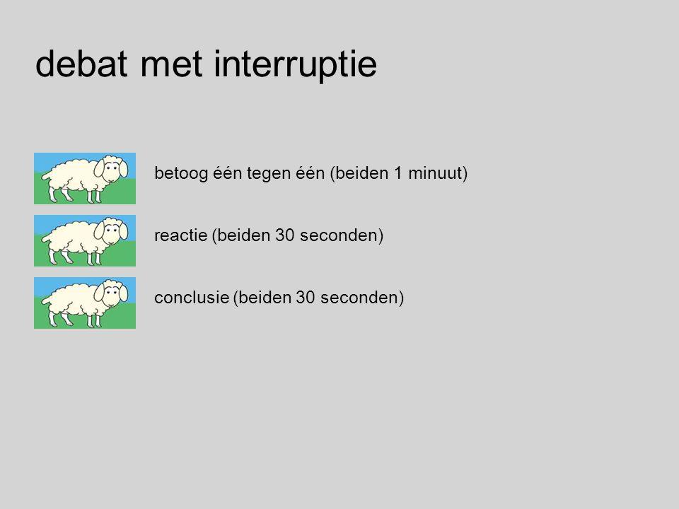 betoog één tegen één (beiden 1 minuut) reactie (beiden 30 seconden) conclusie (beiden 30 seconden) debat met interruptie