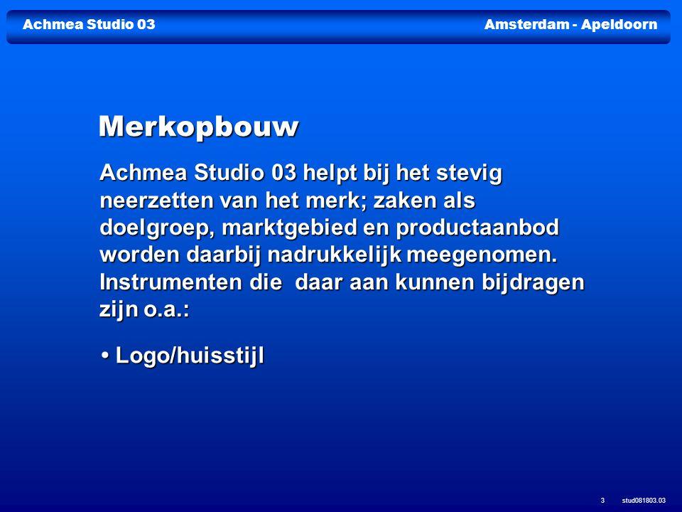 Achmea Studio 03Amsterdam - Apeldoorn stud081803.03 3 Merkopbouw Logo/huisstijl Logo/huisstijl Achmea Studio 03 helpt bij het stevig neerzetten van he