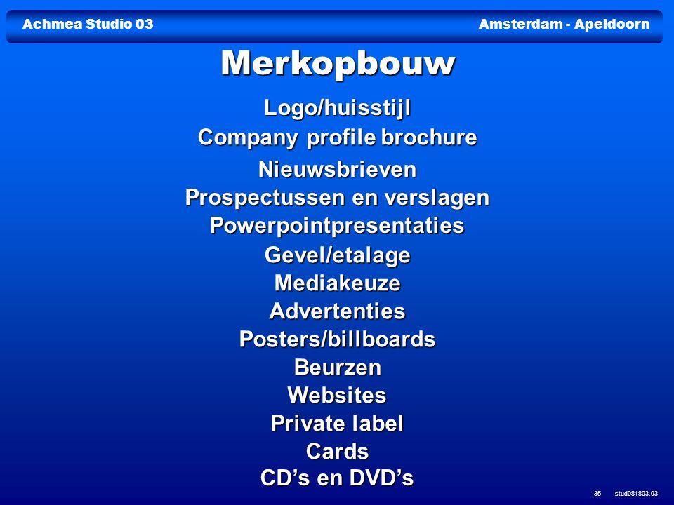 Achmea Studio 03Amsterdam - Apeldoorn stud081803.03 35 Logo/huisstijl Company profile brochure Company profile brochure Nieuwsbrieven Prospectussen en
