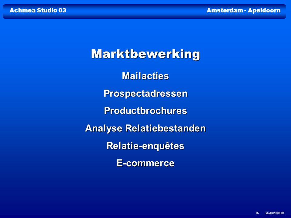 Achmea Studio 03Amsterdam - Apeldoorn stud081803.03 37 Marktbewerking MailactiesProspectadressenProductbrochures Analyse Relatiebestanden Relatie-enqu
