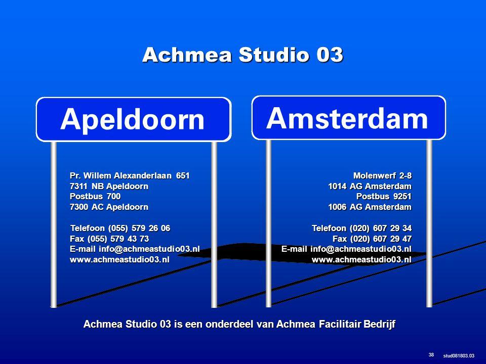 stud081803.03 38 Molenwerf 2-8 1014 AG Amsterdam Postbus 9251 1006 AG Amsterdam Telefoon (020) 607 29 34 Fax (020) 607 29 47 E-mail info@achmeastudio0