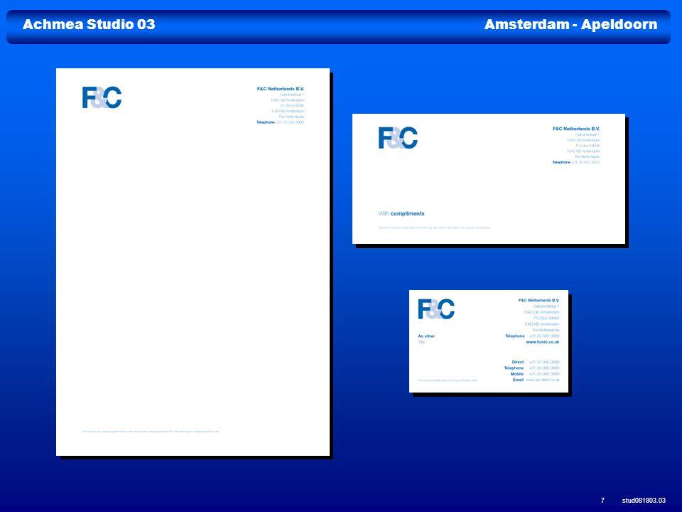 stud081803.03 38 Molenwerf 2-8 1014 AG Amsterdam Postbus 9251 1006 AG Amsterdam Telefoon (020) 607 29 34 Fax (020) 607 29 47 E-mail info@achmeastudio03.nl www.achmeastudio03.nl Achmea Studio 03 Achmea Studio 03 is een onderdeel van Achmea Facilitair Bedrijf Achmea Studio 03 is een onderdeel van Achmea Facilitair Bedrijf Pr.